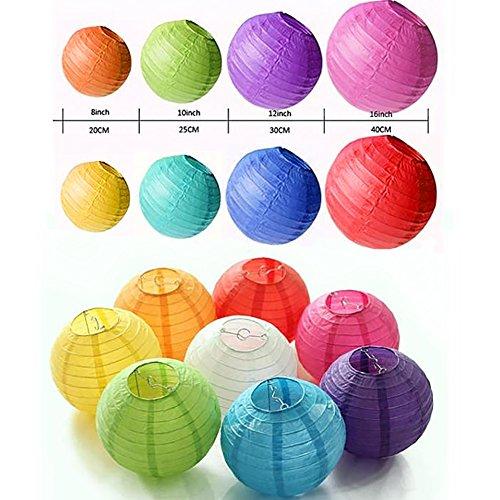 24Packungen weiß Papier Laternen mit verschiedene Größen für Hochzeit Dekoration Empfang Crafts Party Lichter und DIY Laternen 14PCS mehrfarbig