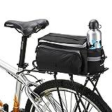 XPhonew 10L Mountain City Road MTB Fahrrad Outdoor Sport Wasserdicht Gepäckträger Tasche Trunk Bag Fahrrad-Zubehör Handtasche Schultertasche Fahrradtasche mit Wasser Flasche Tasche–Schwarz
