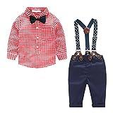 MissChild Baby Junge Bekleidungsset Formal Gentleman Plaid Shirt + Hose mit Hosenträger Ausstattung Rot Label 70