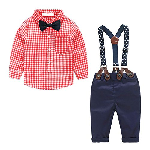 MissChild Baby Junge Bekleidungsset Formal Gentleman Plaid Shirt + Hose mit Hosenträger Ausstattung Rot Label 70 -