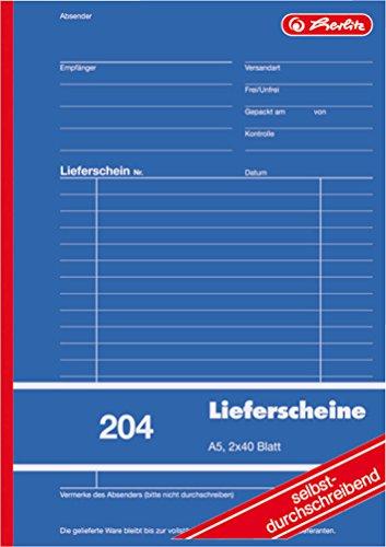 Herlitz 1932839 Lieferschein-Buch A5 204 2x40 Blatt, selbstdurchschreibend (1 Stück)