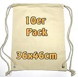 Cottonbagjoe Moderner Turnbeutel Baumwollrucksack Stoffbeutel mit Kordelzug Natur 36x46cm 10 Beutel