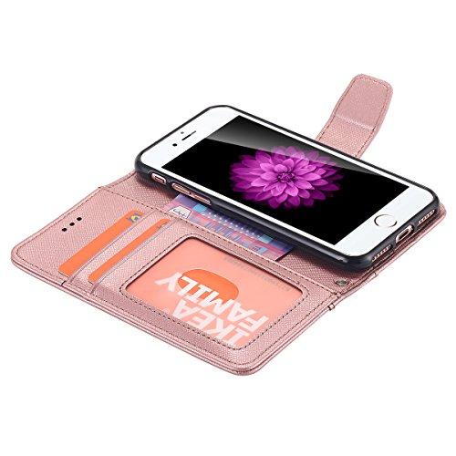iPhone 7cellulare, iPhone 7Case, lontect Cover Premium PU Custodia in pelle Flip Case Portafoglio Cover per Apple iPhone 7 rose gold