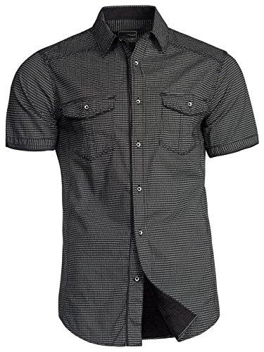 Trisens Herren Hemd Shirt Kurzarm Baumwolle Kontrast Knopfleiste Polo Party, Farbe:Schwarz, Größe:XXL