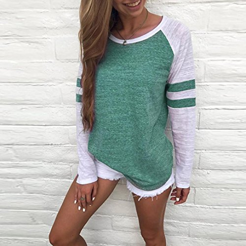 Imagen de shobdw separación mujer camiseta manga larga empalme blusa tops otoño invierno ropa s, verde  alternativa