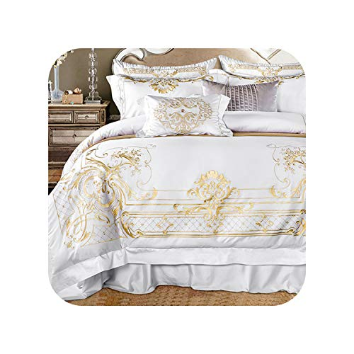 ägyptischer Baumwolle Bettwäsche-Set Super King Queen-Size-Bett Set Luxury Golden Stickerei Bettwäsche-Sets Bettlaken Set Bettbezug, Farbe 1, Queen-Size-7Pcs ()