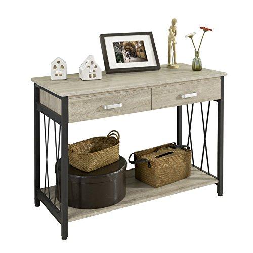 SoBuy® Mesa auxiliar con 2 cajones y tablero, Consola mesa madera escritorio, FWT23-N,ES