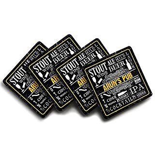 Arun's Pub, Personalised Name, Pub Drink Text Design, Four Coaster Set, Good Quality, 90mm x 90mm.