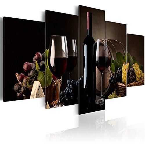 murando - Bilder 200x100 cm - Leinwandbilder - Fertig Aufgespannt - Vlies Leinwand - 5 Teilig - Wandbilder XXL - Kunstdrucke - Wandbild - Wein Trauben 030107-24 (Und Bilder Wein Trauben)