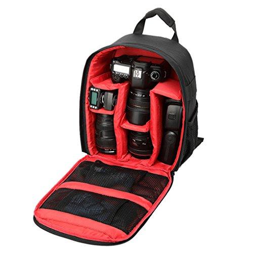 QHGstore Caso zaino multifunzionale sacchetto impermeabile DSLR per Nikon Canon nero + rosso