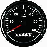 Tachometer RPM Tacho Gauge mit Stunde Meter für Auto Truck Boot Yacht 0–6000RPM 85mm mit Hintergrundbeleuchtung
