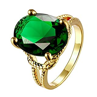 ACMEDE Oval Cut Green Created Emerald Topaz Silver Plated Ring
