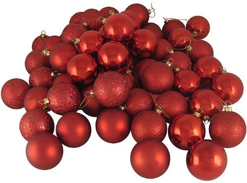 swonvi (TM) 21CT matt red hot Bruchsichere Christmas Ball Ornaments 4cm (39mm), rot - Sammlung Rote Lackierung