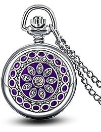 Infinite U Flor Morada Esmaltado Pequeño Reloj de Bolsillo Cuarzo con Espejo Números Arábigos Plateado