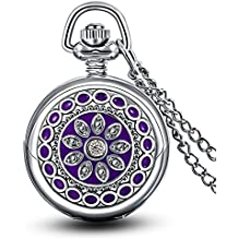 Infinite U Purple Flower Enamel Small Quartz Pocket Watch with Mirror Arabic Numerals Silver