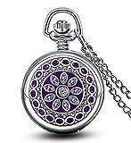 Unendlich U Luxus Purple Blume von Enamel mit klein Quarz Taschenuhr mit Spiegel und arabischen Ziffern,Silber