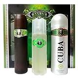 Parfum de France - PC198 - Cuba Green - Coffret pour Homme - Eau de Toilette Vaporisateur 100 ml + Déodorant + Body Spray 200 ml + Aftershave 100 ml
