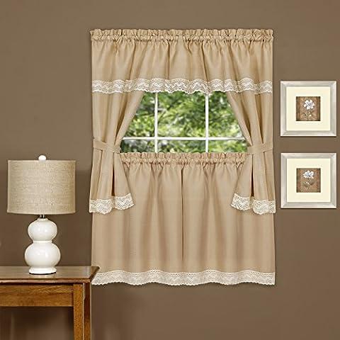 Harwood Embellished Macrame Cottage Kitchen Curtain Set, Camel, 58x36 & 58x36