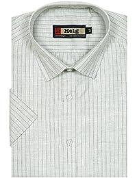 Helg Mens Formal Linen Stripes Half Sleeves Comfort Fit Shirt
