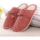 Inicio zapatillas de algodón antideslizante interior otoño y el invierno gruesa Base zapatillas de lana ( Tamaño : EU38-39 )