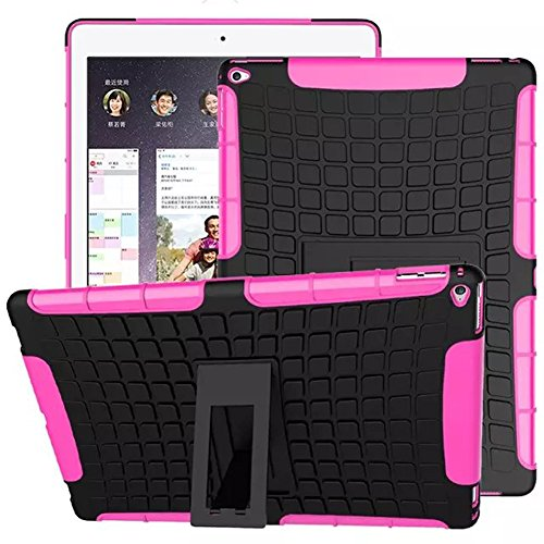 FALIANG Schutzhülle iPad Pro 12.9 inch Hülle, Reifen Muster Dual Layer Rüstung Kombination Stoßfest Heavy Duty Schild Harte Schale für iPad Pro 12.9 inch (Hot pink)