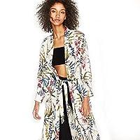 Yukong Womens Boho Floral Printed Side Slit Kimono Cardigan Coat Tops Blouse with Sashes (XXL, Beige)