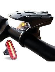 ZEEFO Fahrradbeleuchtung Superhell Wiederaufladbar Wasserdicht LED Fahrradbeleuchtung set mit 400 Lumen intelligenter Sensor Vorderlicht und rotes Rücklicht mit 4 Modi, kompatibel mit Mountainbikes, Straßenrädern, Kinder- & City-Fahrrädern, erhöhte Sicherheit und Sichtbarkeit
