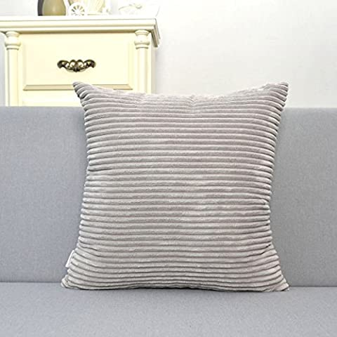 Natus Weaver Decorative Soft Striped Velvet Corduroy Cushion Cover European Throw Pillow Sham with Zipper, 16 inch ( 40 x 40 cm ), Light Grey