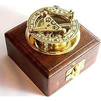BRASS SUNDIAL COMPASS -Solid Brass Pocket Sundial - West London With Wooden Box by casanova nauticals