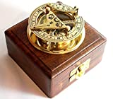 BRASS SUNDIAL COMPASS -Solid Brass Pocket Sundial - West London With Wooden Box