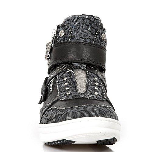 New Rock Herren Hybrid Leder Schwarz Schuh M.HY032-S17 Black