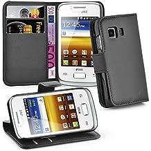 Cadorabo - Funda Samsung Galaxy YOUNG 2 Book Style de Cuero Sintético en Diseño Libro - Etui Case Cover Carcasa Caja Protección (con función de suporte y tarjetero) en NEGRO-FANTASMA