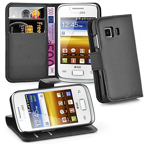 Cadorabo Hülle kompatibel mit Samsung Galaxy Young 2 Hülle in Phantom SCHWARZ Handyhülle mit Kartenfach und Standfunktion Case Cover Schutzhülle Etui Tasche Book Klapp Style