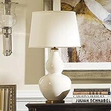 JHBJ lámparas Cálido dormitorio Mesita de luz de la lámpara decorativa creativa de la sala blanca grande de cerámica de la lámpara de escritorio de la calabaza lámpara de escritorio