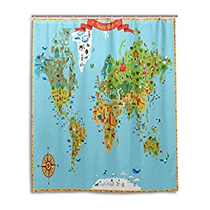 Cortina de ducha de baño 60x 72pulgadas brújula de mapa del mundo país Nacional de Arte cultura símbolo tela de poliéster a prueba de moho cortina de baño