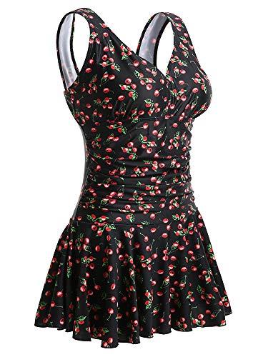 Summer Mae Damen Badekleid Plus Size Geblümt Figurformender Einteiler Badeanzug Swimsuit 40-42 Schwarz mit Kirsche