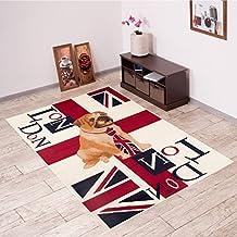 Alfombra De Salón Moderna – Color Rojo Marfil De Diseño London – Suave – Fácil De Limpiar – Top Precio – Diferentes Dimensiones S-XXXL 180 x 250 cm