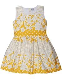 POPCORN Girls' A-Line Dress (Yellow, 6-7 Years)