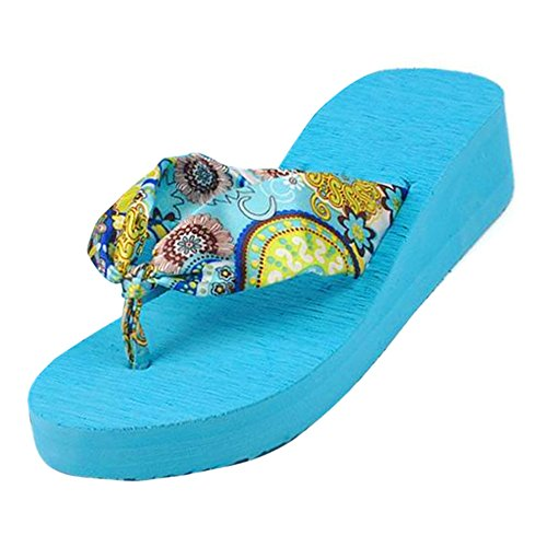 TOOGOO(R) Il fiore della Boemia di estate calza i pattini delle piattaforme delle piattaforme delle piattaforme delle donne dei sandali della piattaforma delle donne Dimensione 5 beige Blu