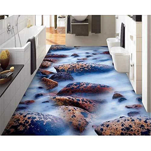 Ytdzsw 2018 Neue Mode Wasserdichte Pvc-Tapeten Fantasie Wasser Kopfsteinpflaster Wohnzimmer Badezimmer 3D Bodenfliesen 3D Tapete-450X300Cm