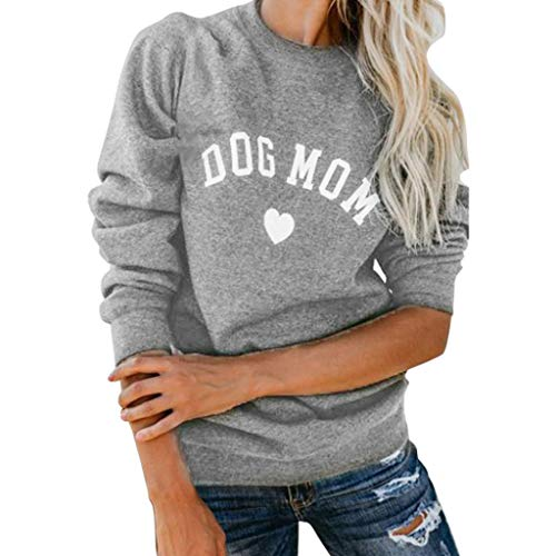 ZOUCY Women Dog Mom Tee Shirt Letter Print Sweatshirt Women's Casual Long Sleeve Letter Print Cute Graphic Sweatshirt - Light Gray - X-Large
