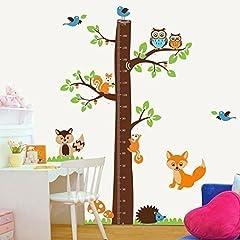 Idea Regalo - Walplus AY221 - Adesivo da parete con metro per bambini, motivo: albero con volpi, multicolore