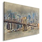 Feeby NEW YORK Bild auf Leinwand Größe: 80x60 cm, 1 Teilig Leinwanbild Wandbild Kunstdrucke Wanddeko BROOKLYN BRIDGE ARCHITEKTUR BRAUN BLAU