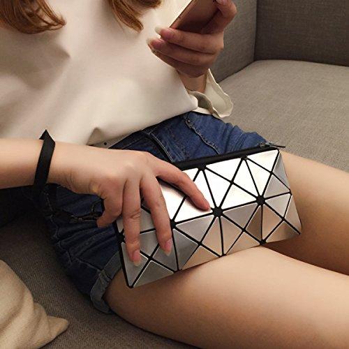 Signore Geometrico Borsa Sacchetto Del Telefono Cellulare Lo Shopping Il Tempo Libero Pratica Portafoglio Paillettes Diamanti Borsa Laser Piccola Borsa White