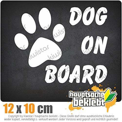 Kiwistar Dog on Board 13 x 11 cm IN 15 FARBEN - Neon + Chrom! Sticker Aufkleber