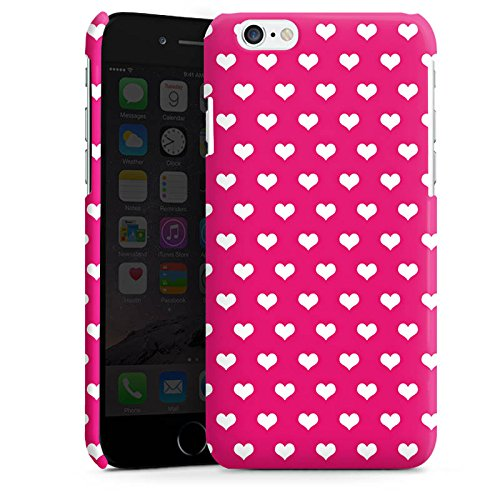 Apple iPhone 6 Housse Étui Silicone Coque Protection Polka c½ur Rose vif Blanc Cas Premium brillant