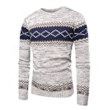 KPILP Männer Herbst Mode Winter Pullover Gestrickte Top Printed LNG Sleeve Pullover Outwear Bluse Sportbekleidung(T-beige, M)