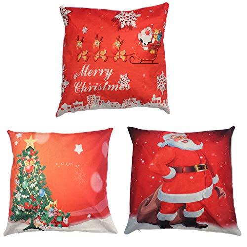 Merry christmas throw pillow cover 3 pack,copriletto in lino cotone decorativo cuscino decorativo per la casa per divano divano babbo natale,cervo invernale di natale,albero di natale,rosso,18