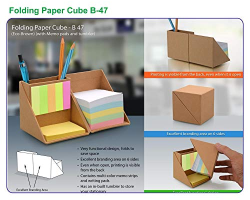 Vision Media India Folding Paper Cube B-47, (Eco-Brown) with Memo Pads and Tumbler