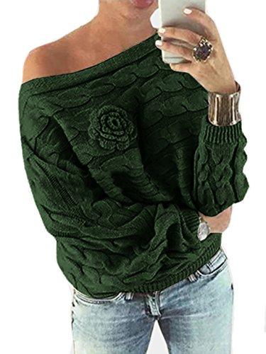 YOINS Schulterfrei Oberteile Damen Herbst Winter Off Shoulder Pullover Pulli für Damen Loose Fit mit Blumenmuster Dunkelgrün M